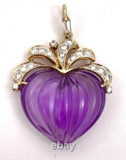 Vintage Victorian 14k Yellow Gold Carved Amethyst Heart VVS Diamonds Pendant