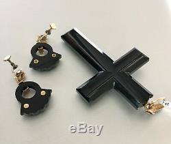Vintage Victorian 18k Gold Carved Onyx Seed Pearls Cross Earrings Mourning Set