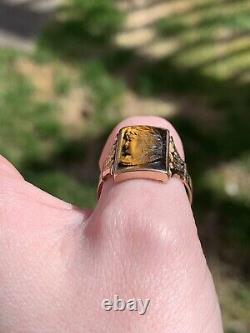 Vintage Victorian Carved Tigers Eye Mens Cameo Ring 14k Yellow Gold Size 10