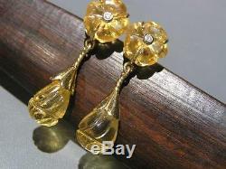 Vintage Victorian Revival 14kt solid Gold Carved Citrine Diamond Dangle Earrings