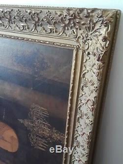 Vintage Wood Carved Painted Frame ornate/intricate frame 41 X 30