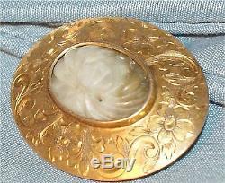 Vintage victorian ESTATE carved oriental jade 1909 gold design mother signed
