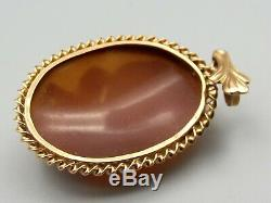 Vtg 10K Gold Carved Shell Cameo Pendant Relief Victorian Woman Signed Esemco