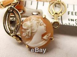 Vtg 14K Gold Carved Shell Cameo Link Bracelet Victorian Woman Face 7.25 Estate