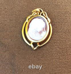 Vtg 14k Gold Mother with Child Carved Shell Cameo Pendant Victorian