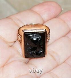 Vtg Victorian 10K Rose Gold Ring Mens Carved Black Onyx Cameo Roman Soldier 9.7g