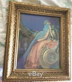 Wooden Carved Frame Gilt Golden Large 27 Museum quality with Art Deco Print