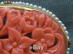 X-Fine Antique 14K Gold carved Coral Enameled Brooch seed Pearls victorian pin